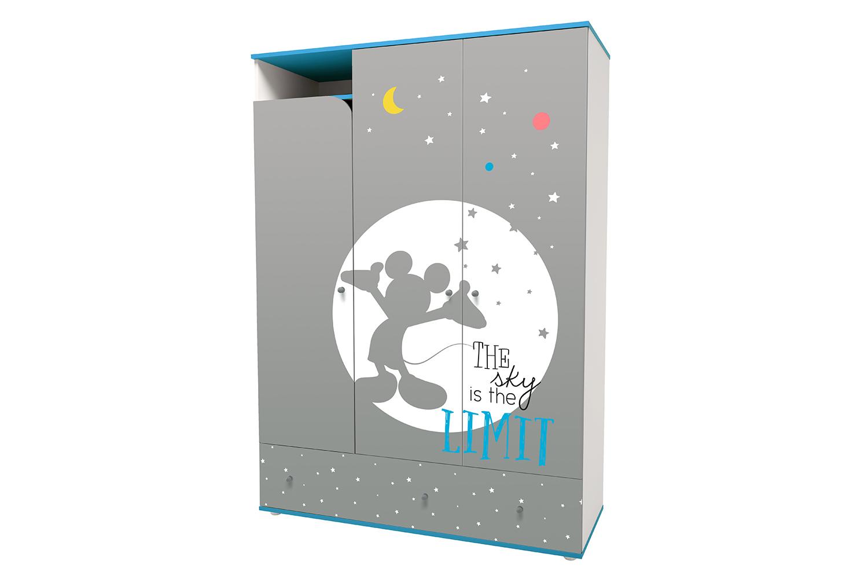 Купить Disney baby Микки Маус с ящиками, белый-серый, Детский шкаф трехсекционный Polini Disney baby Микки Маус с ящиками, Шкафы в детскую комнату
