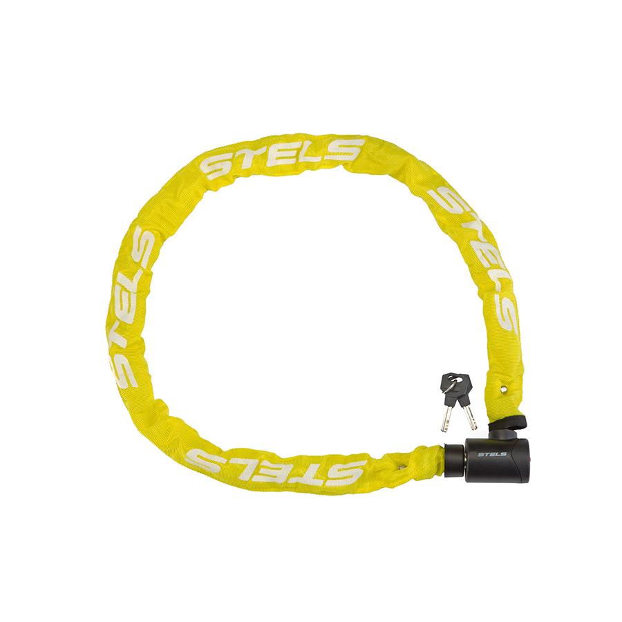 Цепь-замок 85803 (1200мм) d 6mm в тканевой оплётке с ключом, Желтый