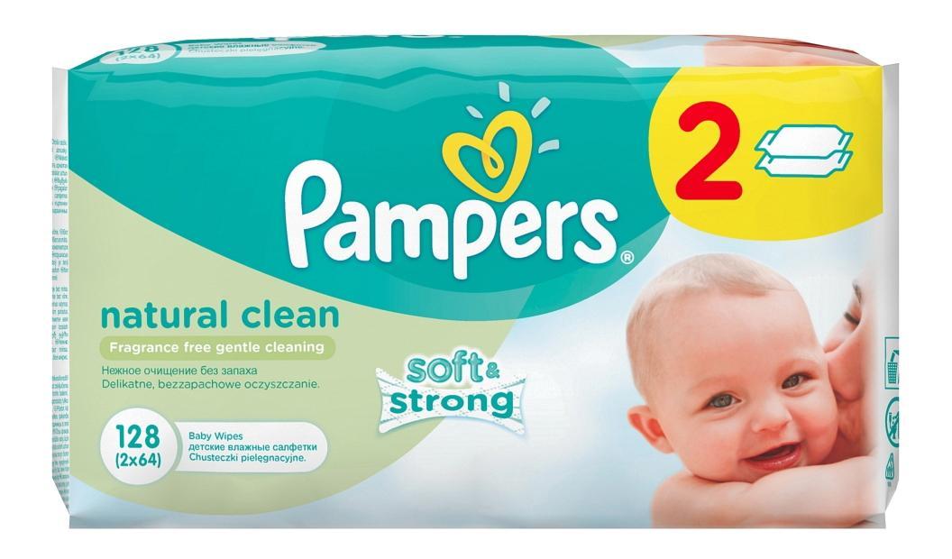 Купить Детские влажные салфетки Pampers natural clean, 128 шт.