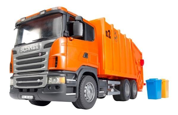 Мусоровоз Bruder Scania оранжевый фото