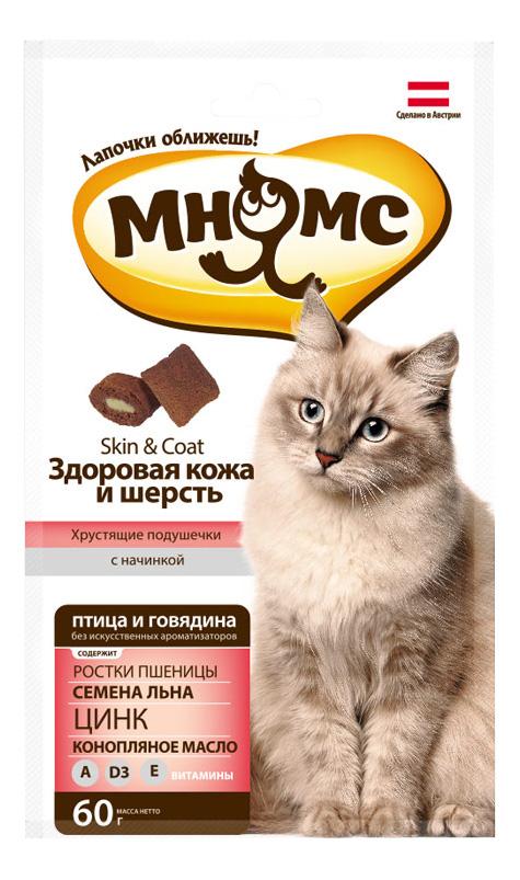 Лакомство для кошек МНЯМС Хрустящие подушечки, птица, говядина, 60г фото