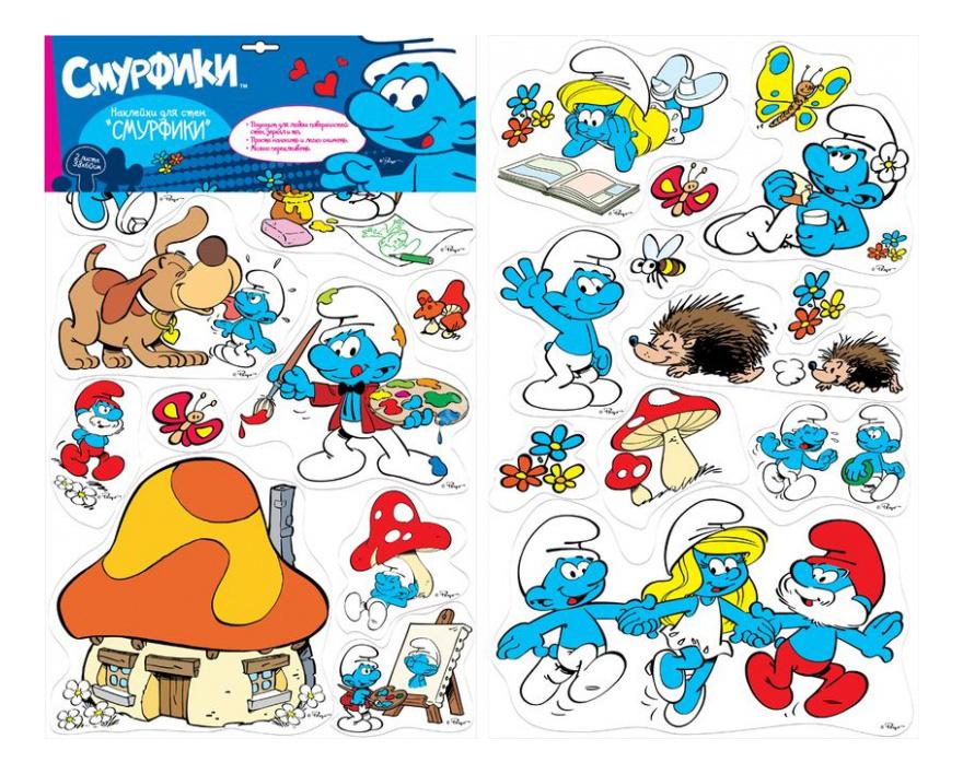 Наклейка декоративная для детской комнаты Росмэн Смурфики