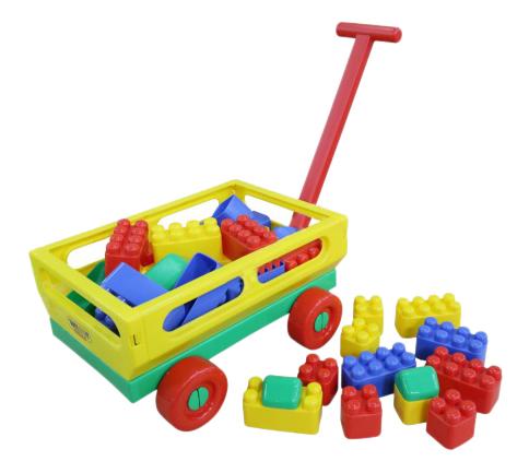 Купить С ручкой №2 + конструктор Беби, Тележка игрушечная Полесье с ручкой №2 конструктор Беби, Детские тележки для супермаркета