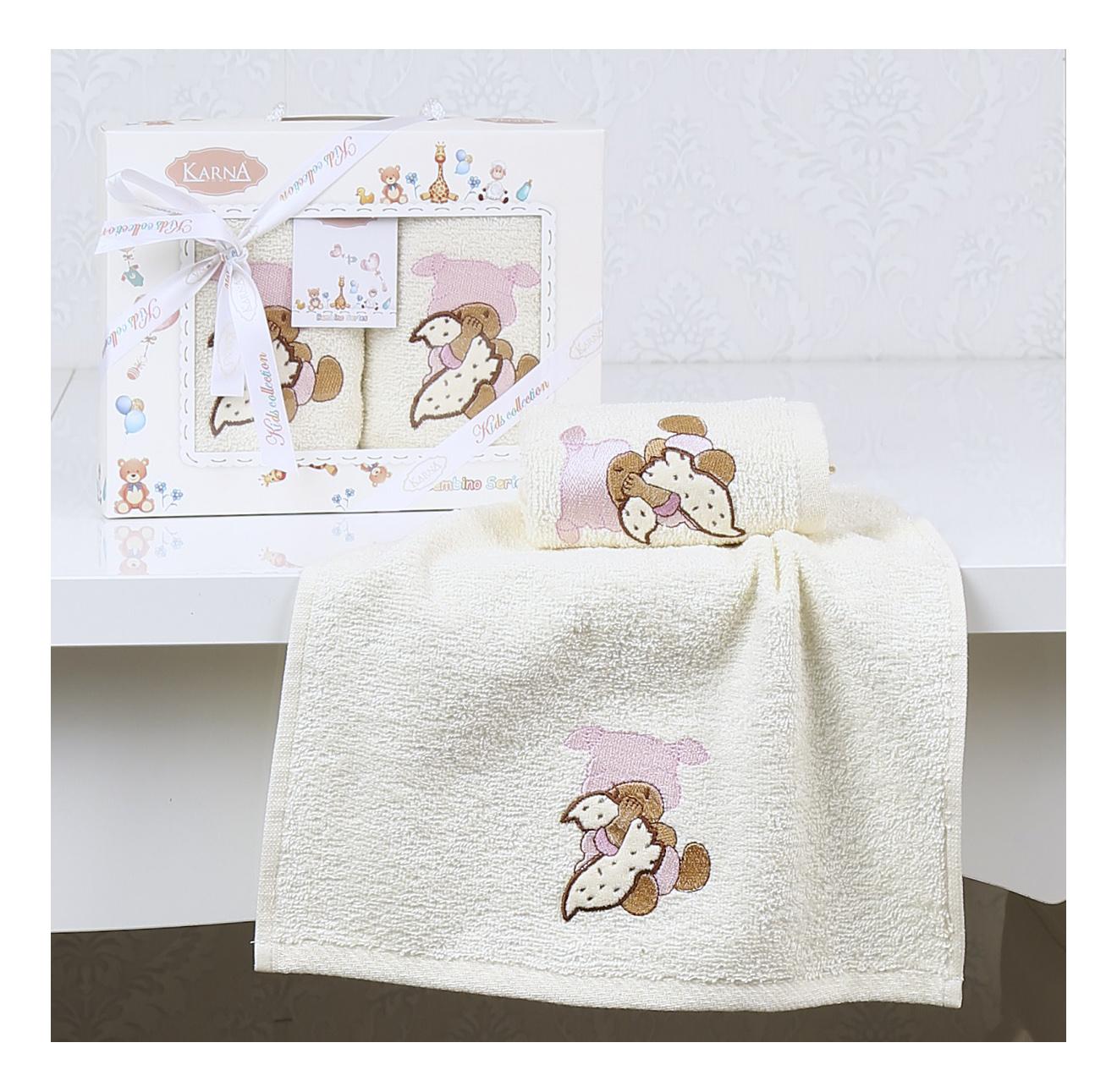 Купить Салфетки c вышивкой Karna детский BAMBINO 30х50 см 2 шт. Розовый 2136-V1, Аксессуары для купания