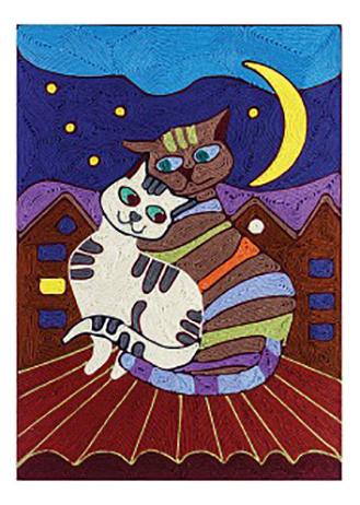 Купить Кошки, Аппликация из пряжи Danko Toys Кошки, Детские аппликации