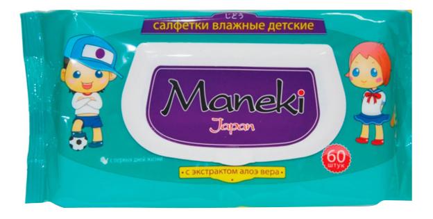 Купить Детские влажные салфетки MANEKI Kaiteki с экстрактом алоэ вера 60 шт.