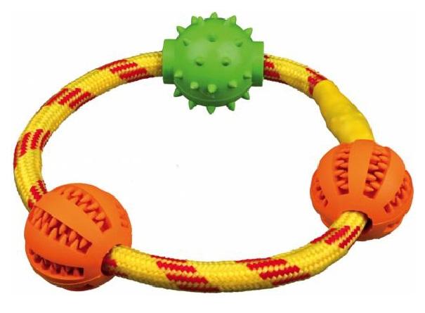 Жевательная игрушка для собак TRIXIE Denta Fun Кольцо с мячиками, разноветное, 20 см