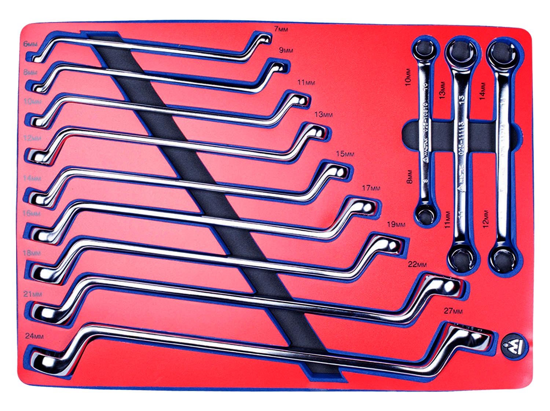 Набор комбинированных ключей МАСТАК накидные и разрезные,