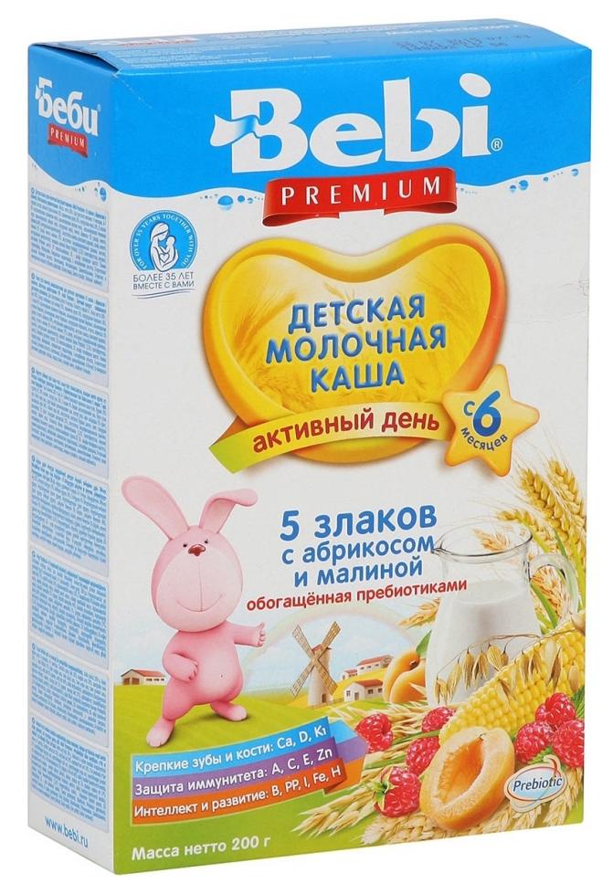 Каша молочная Bebi 5 злаков с абрикосом и малиной с 5 мес. 200 г