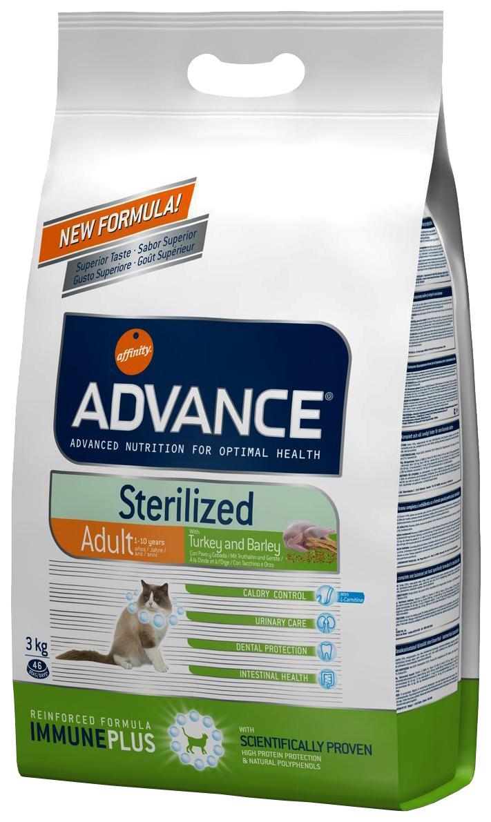 Сухой корм для кошек Advance Sterilized, для стерилизованных, индейка, 3кг фото