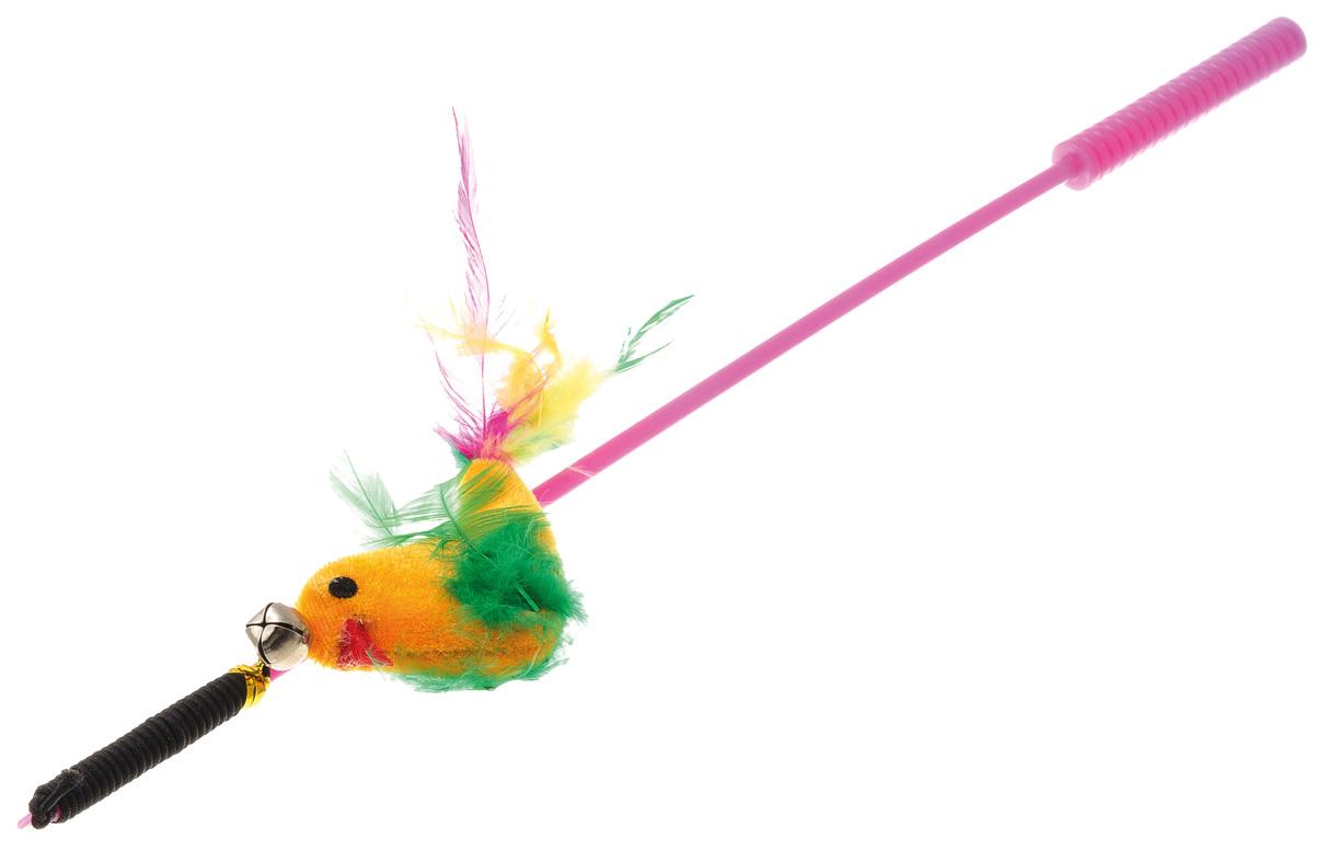 Игрушка для кошек V,I,Pet Дразнилка удочка Птица с перьями фото