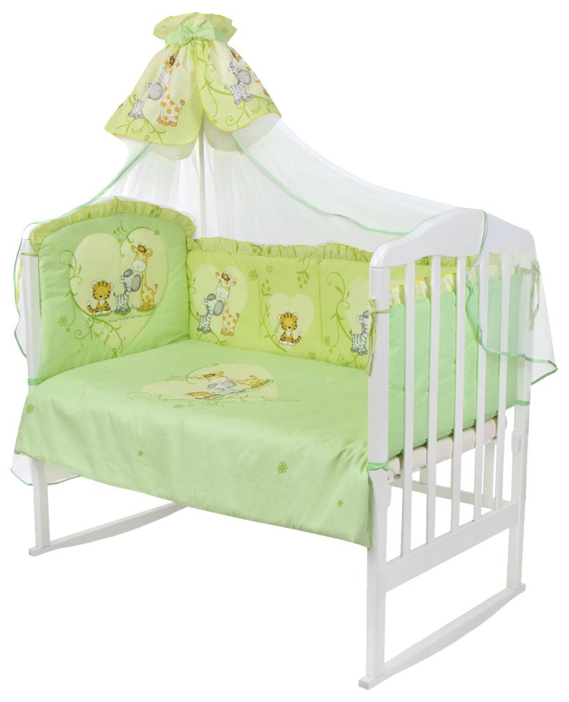 ЗОЛОТОЙ ГУСЬ Комплект в кроватку Сафари (цвет: зеленый, 7 предметов) 1214
