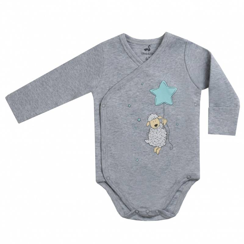 Купить DK-039, Боди Diva Kids, цв. серый, 62 р-р, Боди для новорожденных
