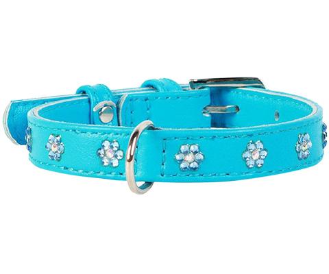 Ошейник для собак Collar Цветочек, кожаный с клеевыми стразами, синий, 12мм, 21-29 см фото