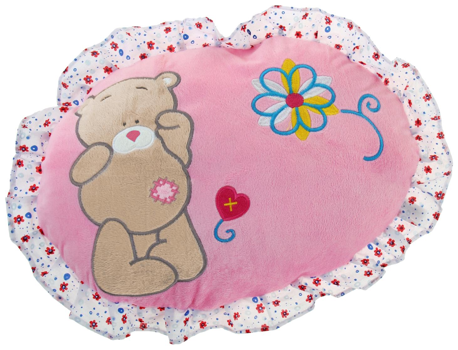 Мягкая игрушка-подушка круглая розовая с мишкой Sima-Land