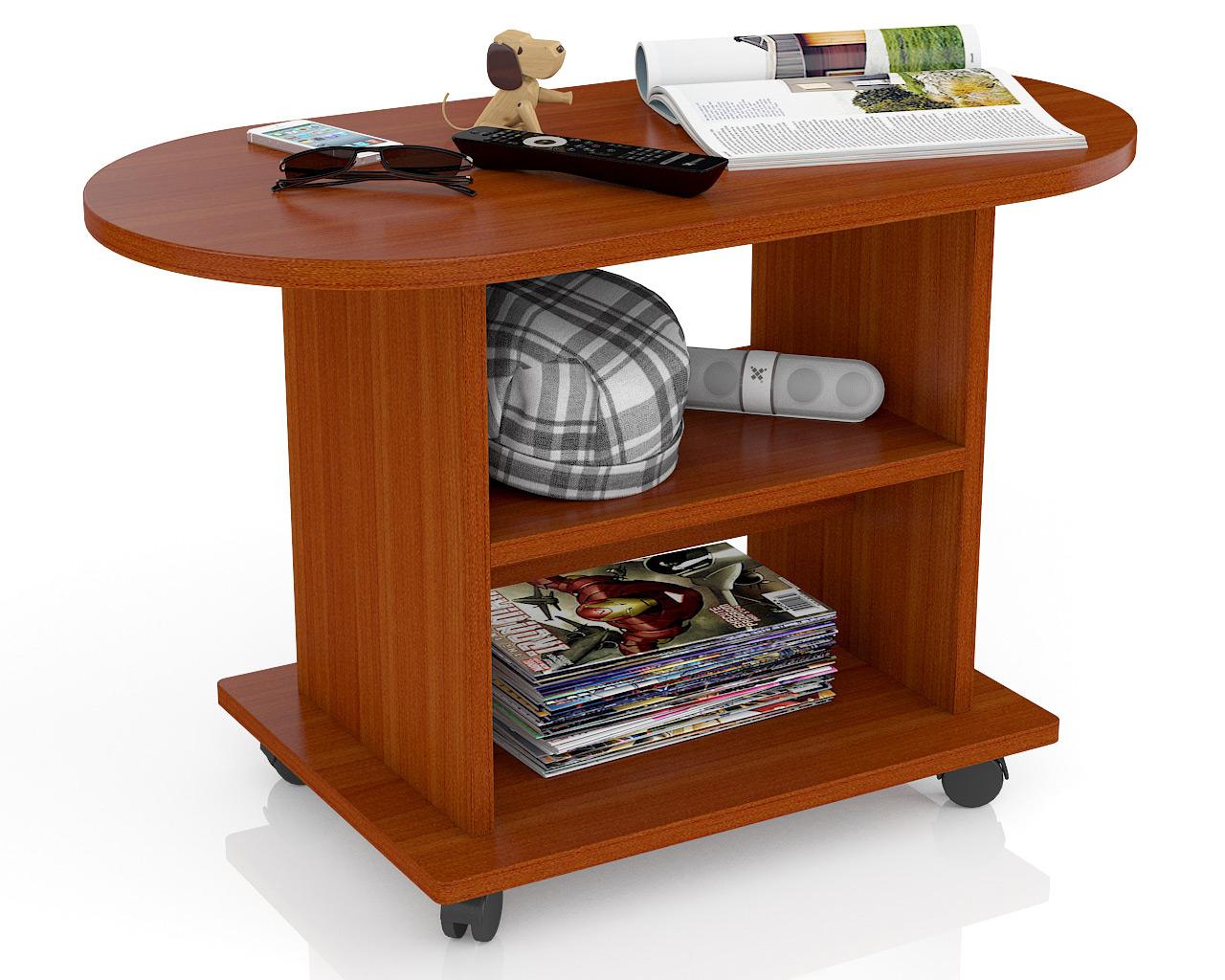Овальный стол журнальный колесные опоры Мебельный Двор СЖ-1 яблоня 82х42х52 фото