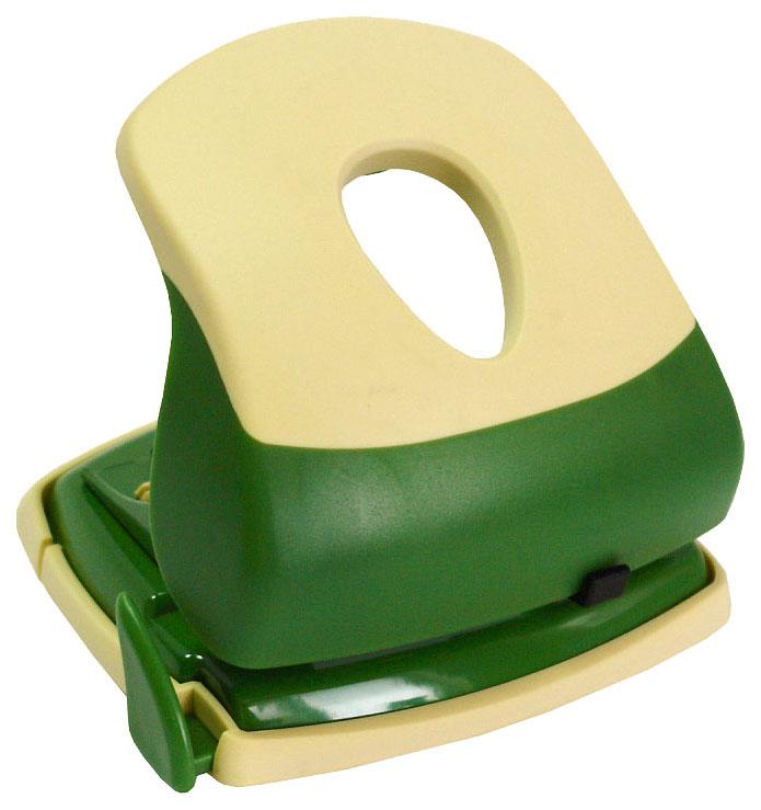 Дырокол FUSION, толщина прокола 30 листов, с линейкой, металл. корпус, зеленый/желтый