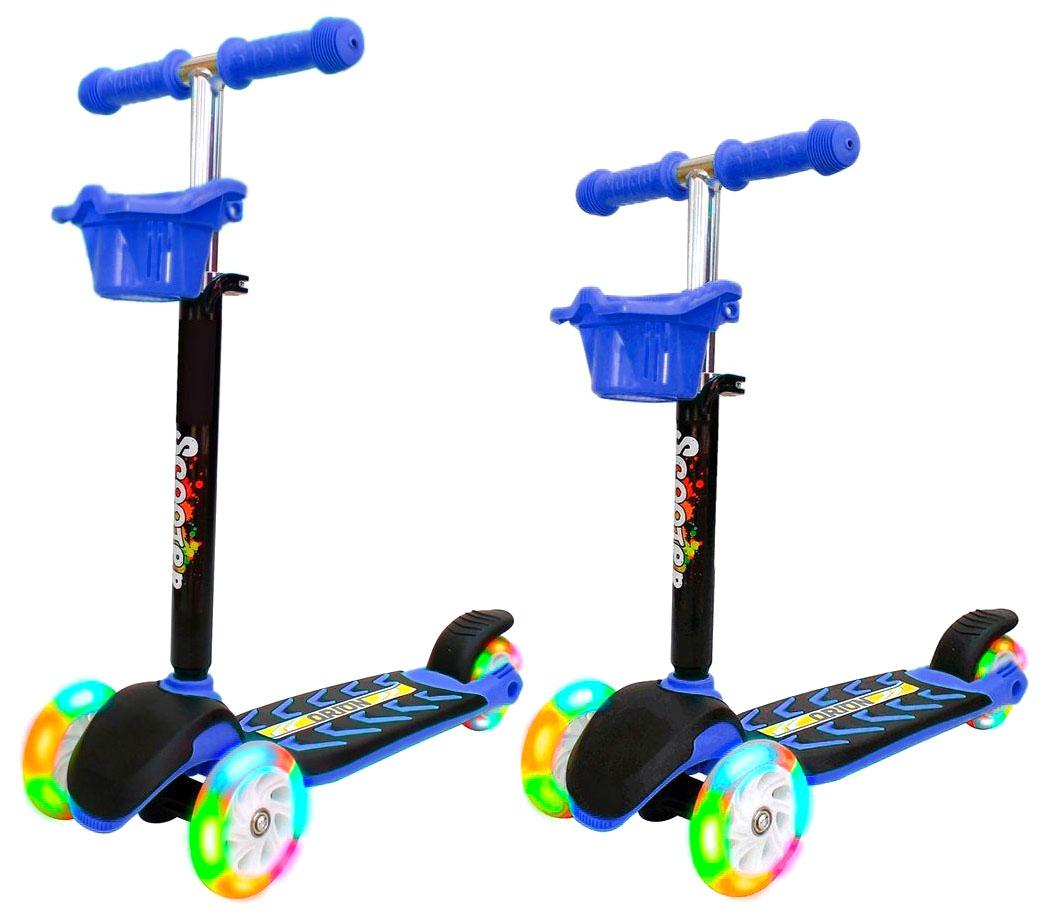 Купить Самокат RT MIDI ORION со светящимися колесами синий, R-TOYS, Самокаты детские трехколесные