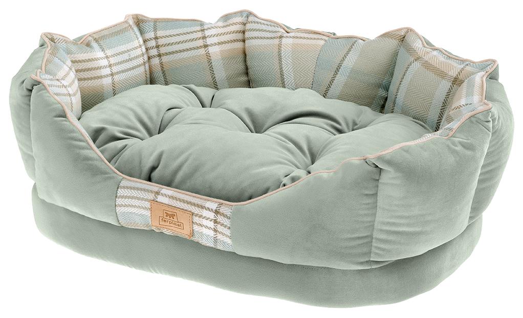 Лежак для животных Ferplast Charles Зеленый с двухсторонней подушкой для собак