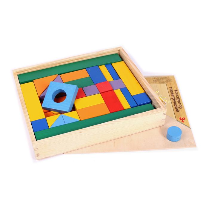 Купить Игрушки, Деревянный конструктор Paremo 51 деталь окрашенный в деревянном ящике, Деревянные конструкторы