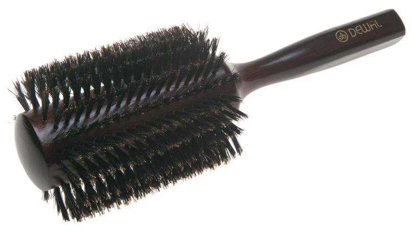 Расческа Dewal Деревянная с натуральной щетиной темная d=38/78 мм