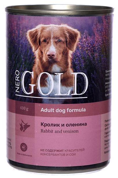 Консервы для собак NERO GOLD, кролик, оленина, 410г