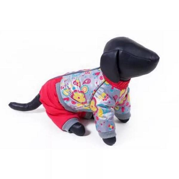 Комбинезон для собак Зоо Фортуна размер XS женский, красный, серый, длина спины 23 см