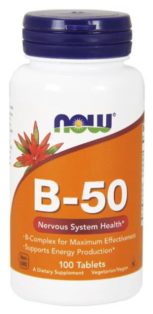 Купить Витаминный комплекс NOW без вкуса, Комплекс витаминов группы B NOW B-50 Complex таблетки 100 шт.