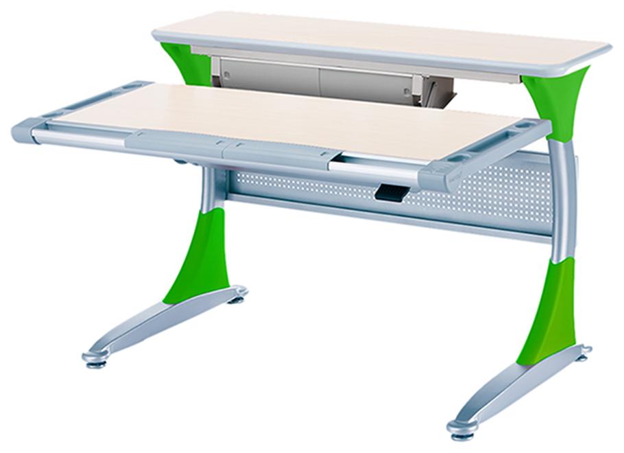 Ученический стол Comf-Pro Гарвард с ящиком 00045-5 Беленый Дуб/Зеленый