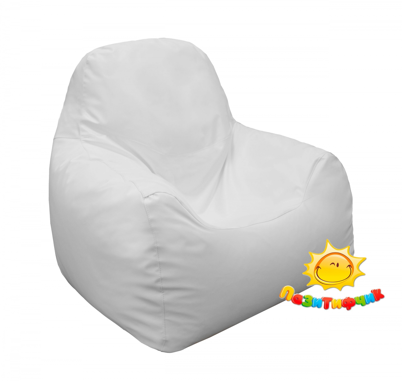 Кресло-мешок Pazitif Комфорт Пазитифчик, размер M, экокожа, белый фото