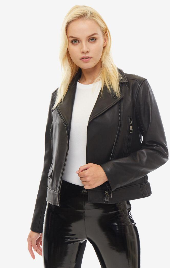 Кожаная куртка женская Karl Lagerfeld 96KW1900_999 черная 44 FR