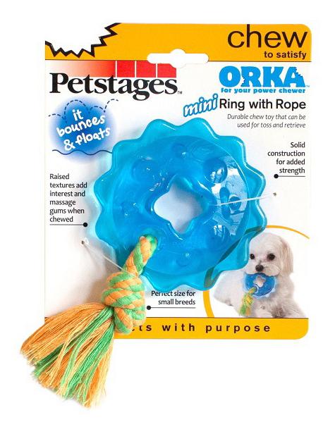 Жевательная игрушка для собак Petstages ОРКА-кольцо с канатом, маленькое, 16,5 см