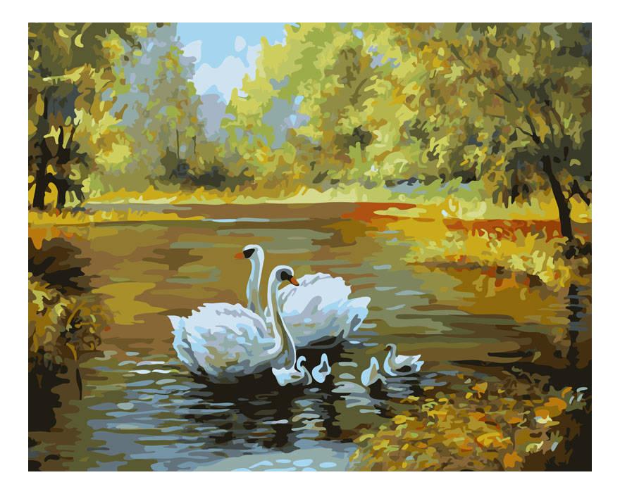 Раскраска по номерам Белоснежка Лебеди в пруду