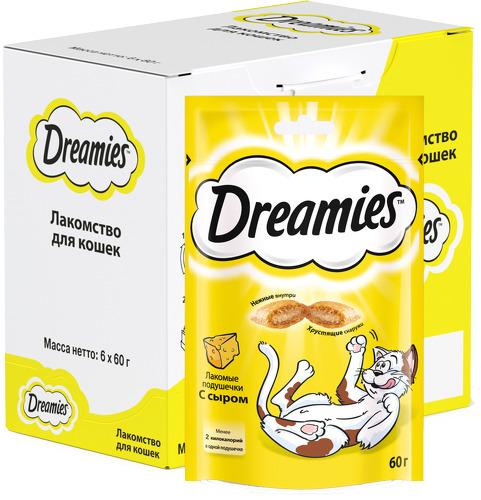 Лакомство для кошек Dreamies, подушечки с сыром, 6 шт по 60г фото