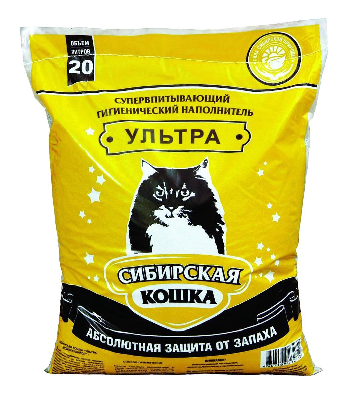 Комкующийся наполнитель для кошек Сибирская кошка Ультра, бентонитовый 20 л фото