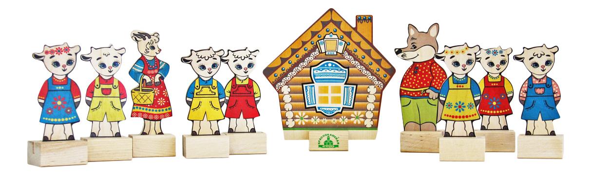 Деревянная игрушка для малышей КРАСНОКАМСКАЯ ИГРУШКА Персонажи сказки Волк и семеро козлят фото