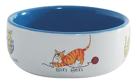 Одинарная миска для кошек и собак Beeztees керамика белый синий 0.25 л.