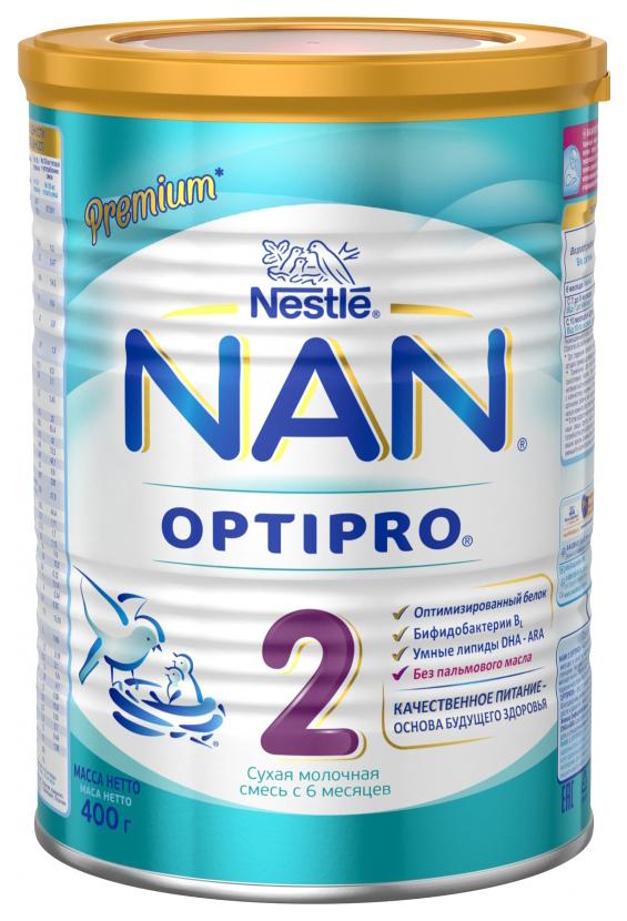 Купить Молочная смесь 2 (от 6 до 12 мес.) NAN Optipro 400 г, Детские смеси