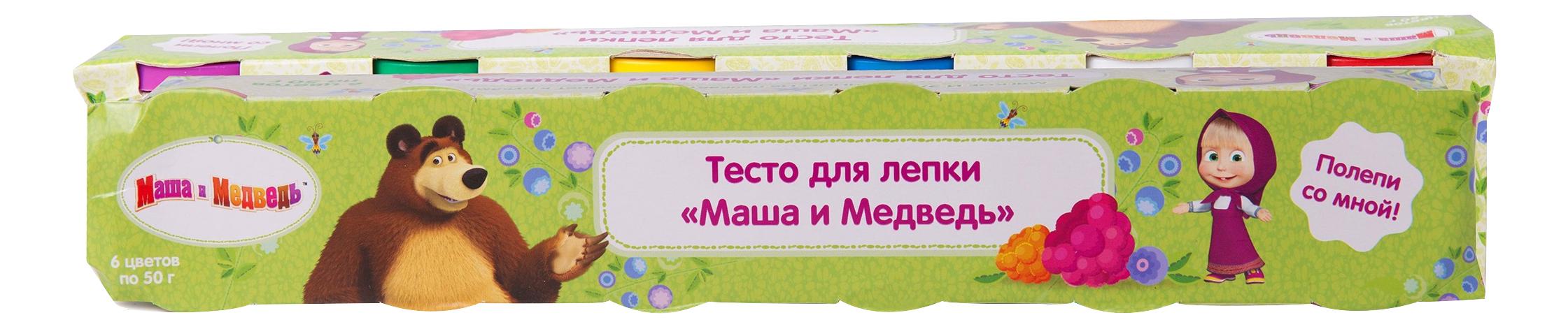 Купить Тесто для лепки Маша и Медведь 6 цветов по 50 г Росмэн 33362, Лепка
