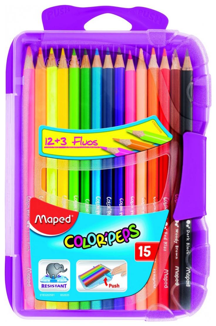 Купить Карандаши цветные Maped Color Peps Smart Box 15 цветов, пластиковый пенал, Цветные карандаши