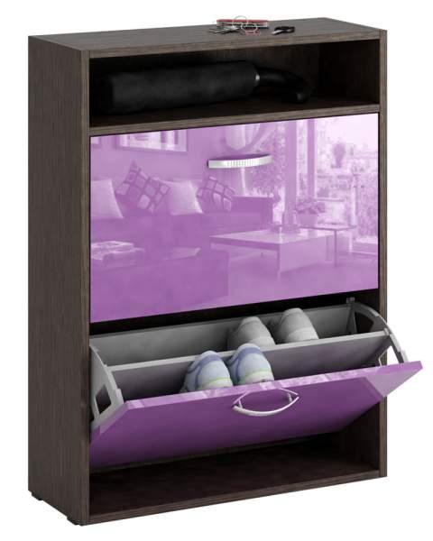 Обувница MFMaster Милан-25 МСТ-ОДМ-25 60х22,2х88,2 см, венге/фиолетовый глянец