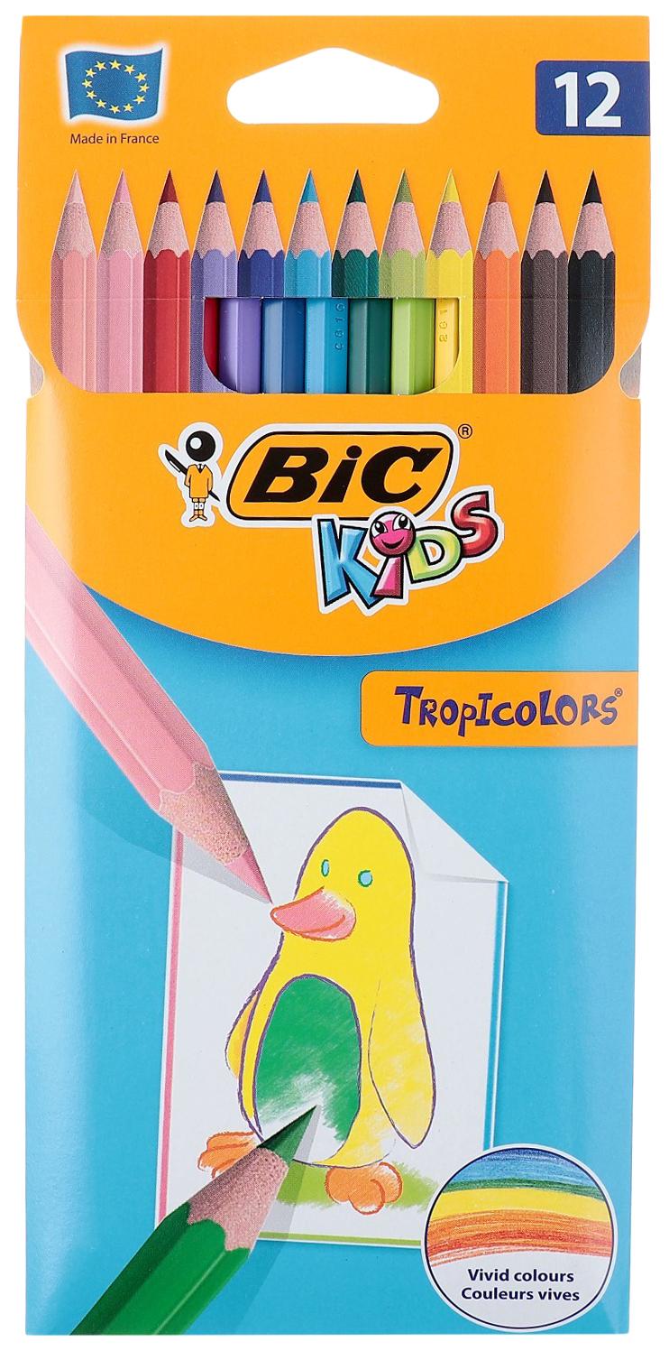 Карандаши 12 цветов BIC Kids Tropicolors, пластиковые CubicFun