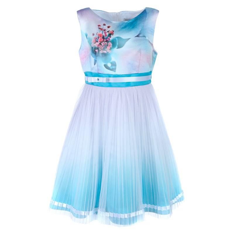 Платье Сорренто UNONA D'ART, цв. бирюзовый, 134 р-р, Детские платья и сарафаны  - купить со скидкой
