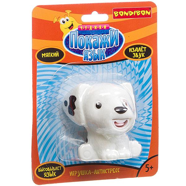 Купить Игрушка-антистресс Bondibon Покажи язык. Собака белая , Мягкие игрушки антистресс