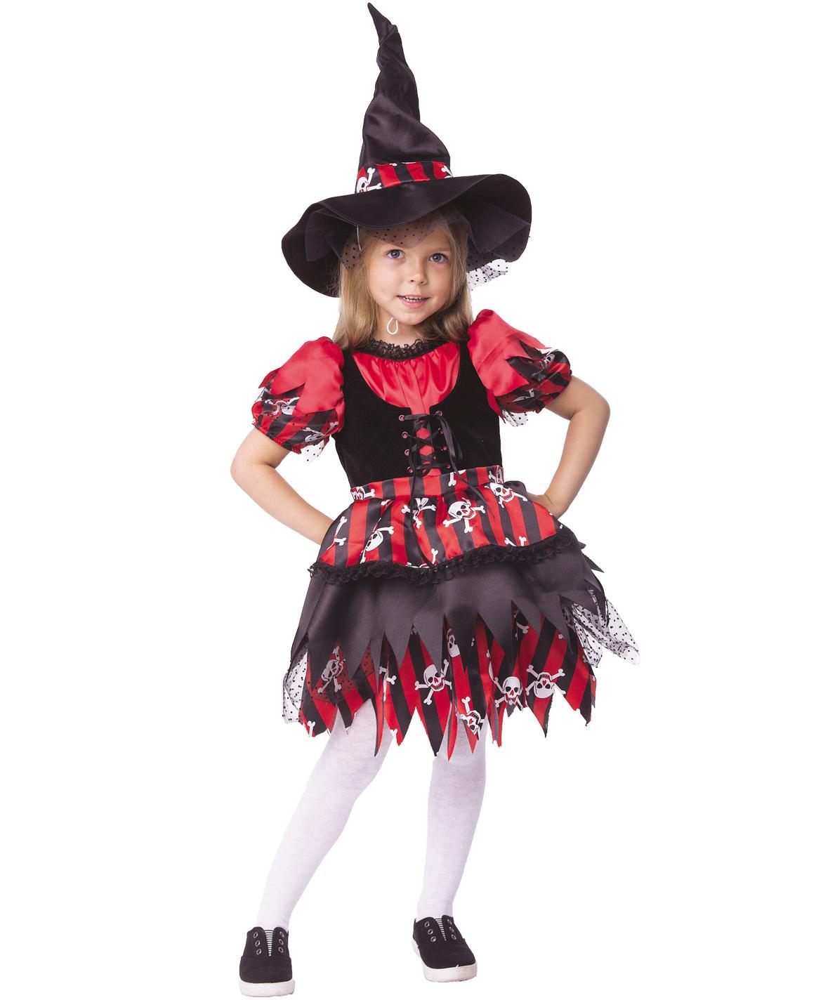 Купить 2064, Карнавальный костюм Батик Ведьма, цв. красный; черный р.128,