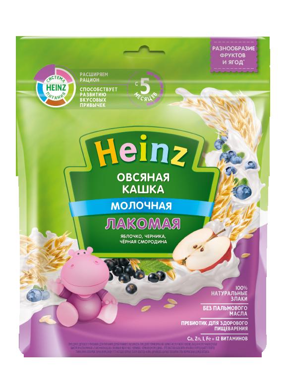 Каша молочная Heinz Овсяная яблоко, черника, чёрная смородина с 5 мес. 170 г, 8 шт.
