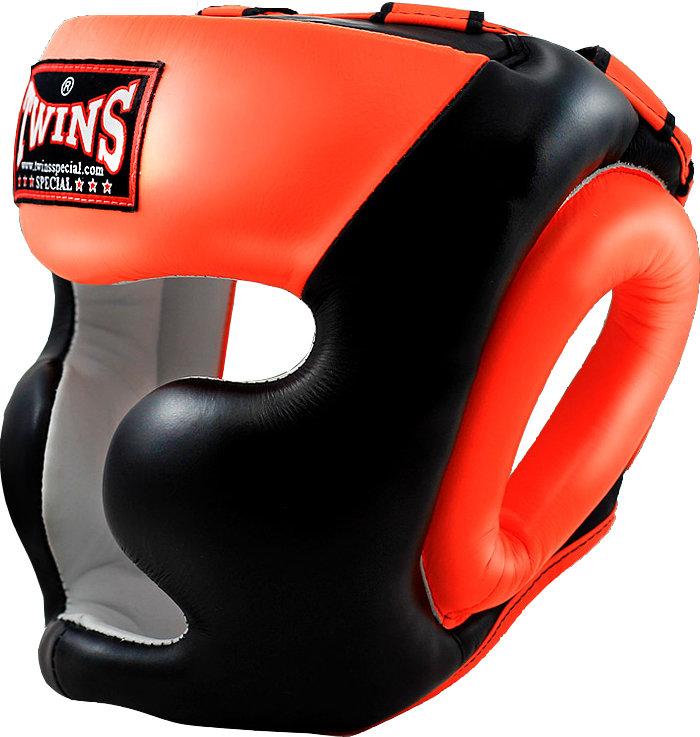 Шлем боксерский Twins HGL6 2T черный/оранжевый