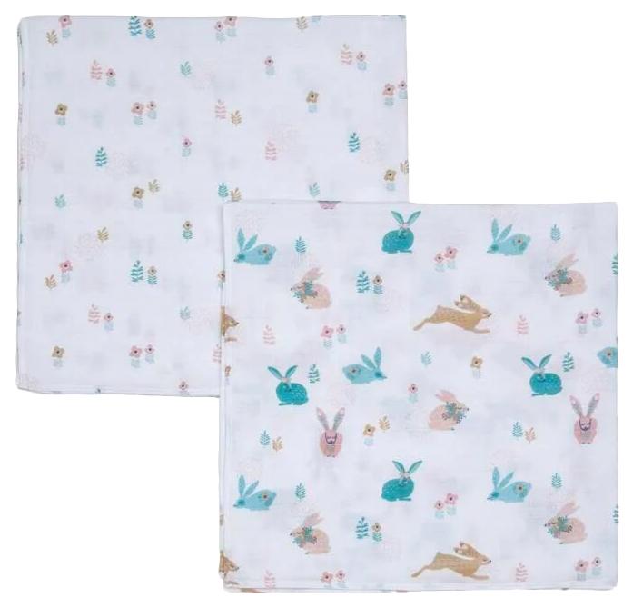 Купить Покрывало для пеленания FUNNABABY (Фаннабэби) Bunny 90*90 см 2 шт, Детские покрывала