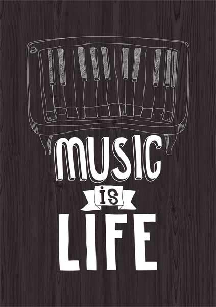Картина на мдф 30x40 Music is Life Ekoramka ME-105-239