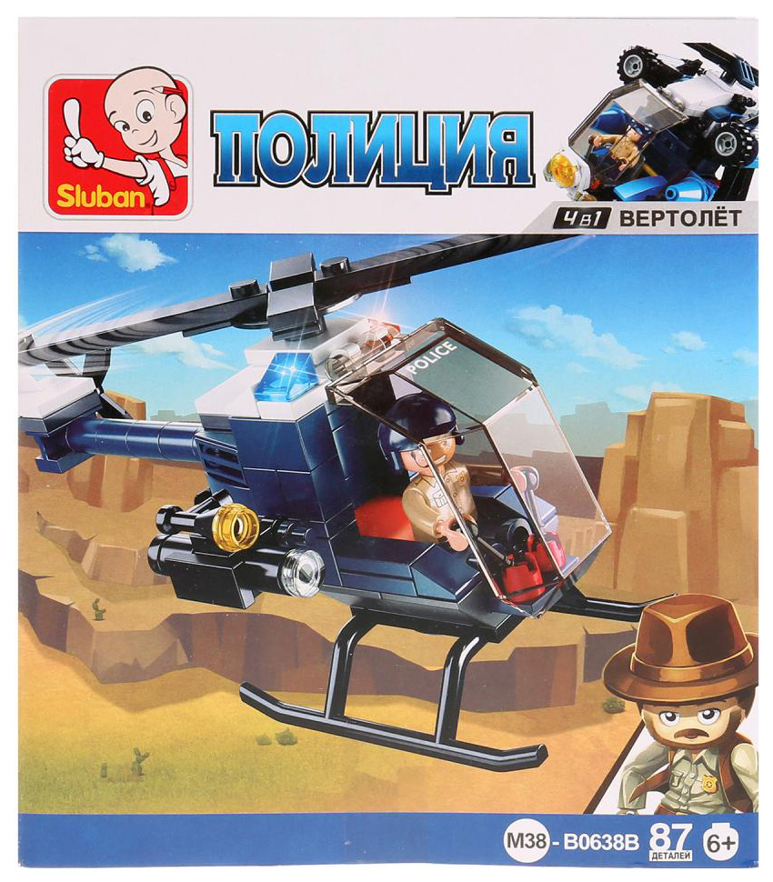 Конструктор пластиковый Sluban Полиция Вертолет С Фигуркой M38-B0638B